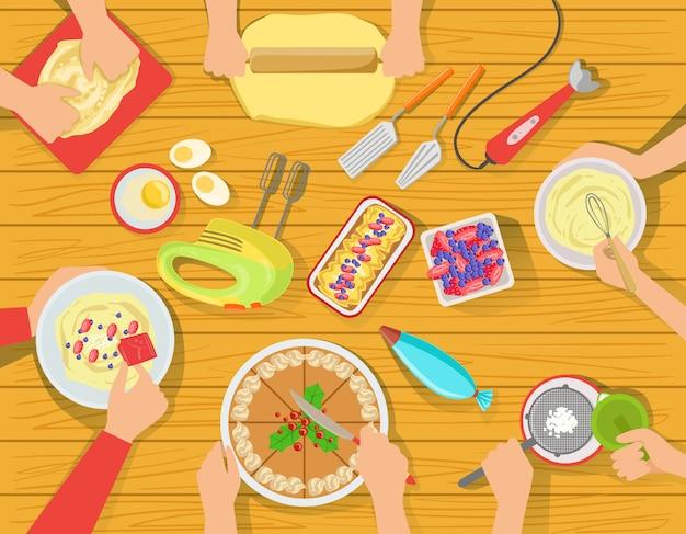 Gens, Cuisine, Doux, Pâtisserie, Ensemble, Vue, Dessus Vecteur Premium