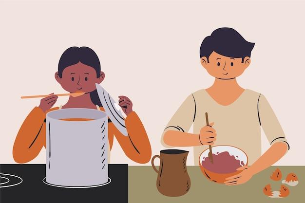 Gens, Cuisine, Illustration Vecteur gratuit