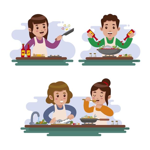 Gens, Cuisine, Illustration Vecteur Premium