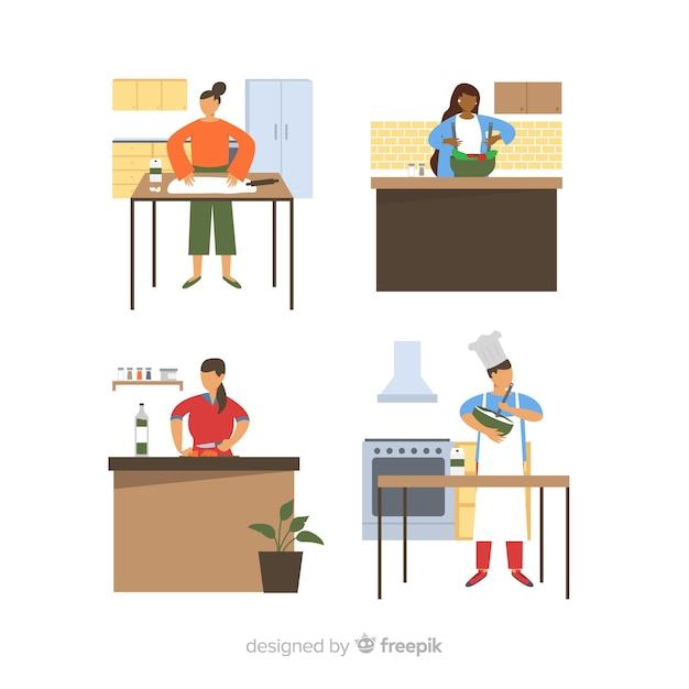 Les gens cuisinent à la collection de cuisine Vecteur gratuit