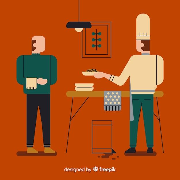 Les gens cuisinent à la cuisine Vecteur gratuit