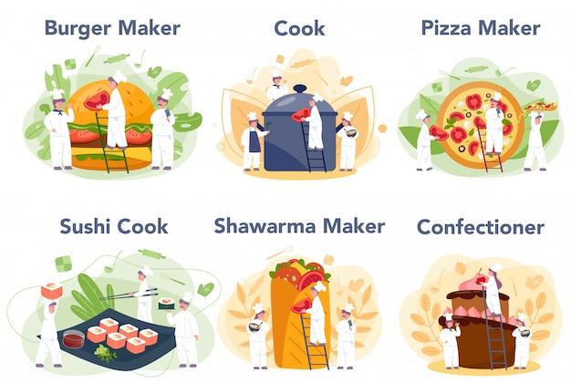 Les Gens Cuisinent Et Préparent L'ensemble De La Nourriture. Chef De Restaurant Cuisine Vecteur Premium