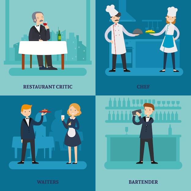 Gens Dans Le Concept De Place De Restaurant Vecteur gratuit