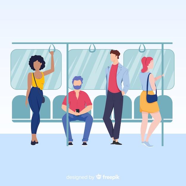 Les gens dans le métro Vecteur gratuit