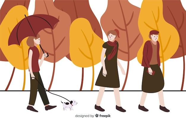 Gens dans le parc en automne Vecteur gratuit