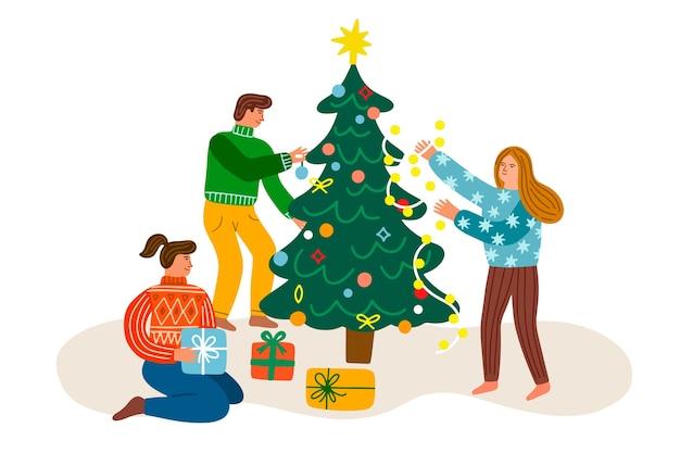Gens, décoration, arbre festif Vecteur gratuit