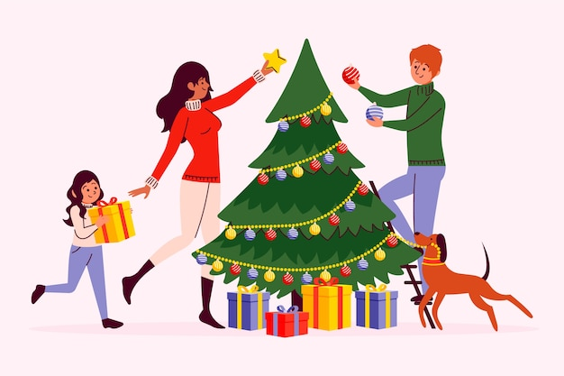 Gens, Décoration, Noël Arbre Vecteur gratuit