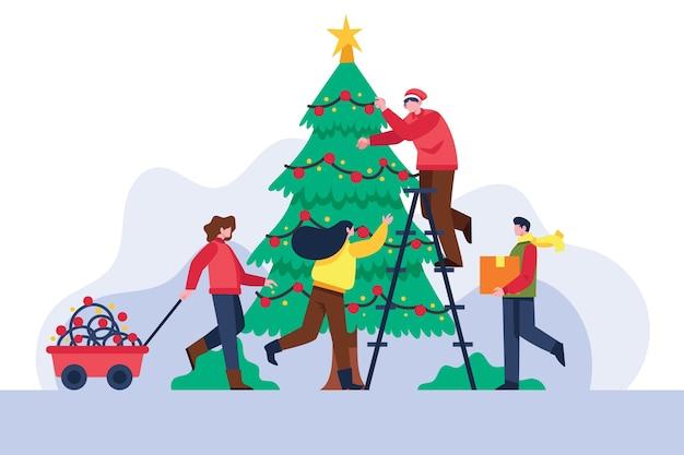Gens, décorer, noël, arbre Vecteur gratuit