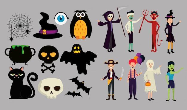 Des gens déguisés pour halloween Vecteur gratuit