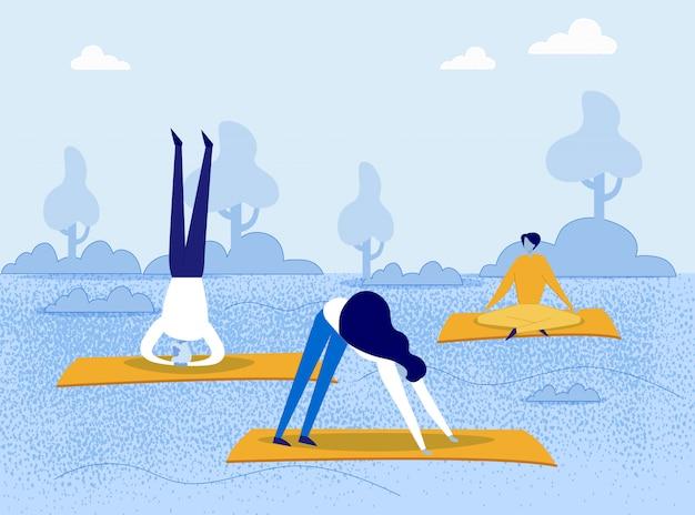 Gens De Dessin Animé Faisant Des Asanas De Yoga Dans Le Parc Naturel Vecteur Premium