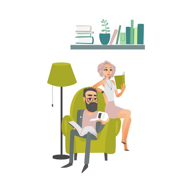 Gens de dessin animé lisant une scène de livres Vecteur Premium