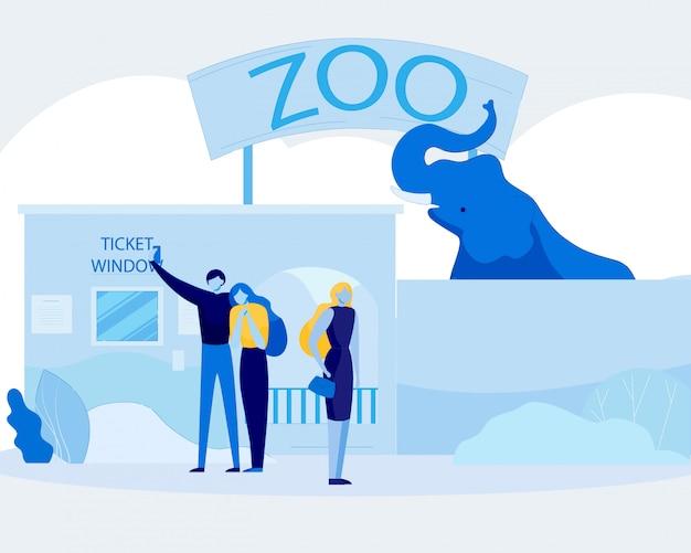 Gens De Dessin Animé Se Détendre Et S'amuser Au Zoo Vecteur Premium
