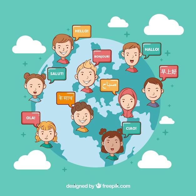 Gens Dessinés à La Main Parlant Différentes Langues Vecteur gratuit