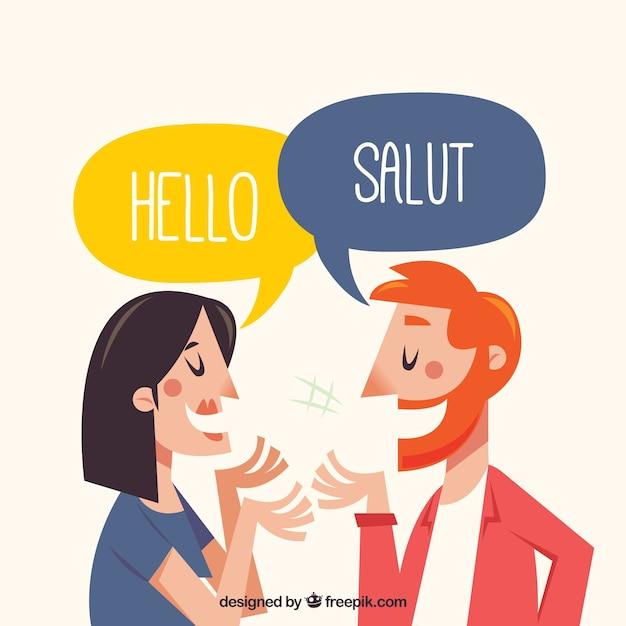 Gens Dessinés à La Main Parlant Différentes Langues Vecteur Premium