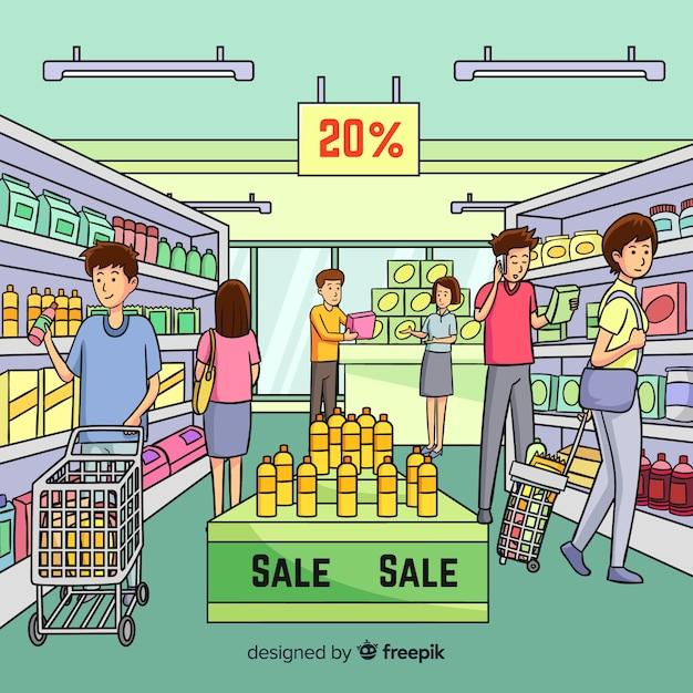 Gens dessinés à la main, shopping dans le contexte du supermarché Vecteur gratuit