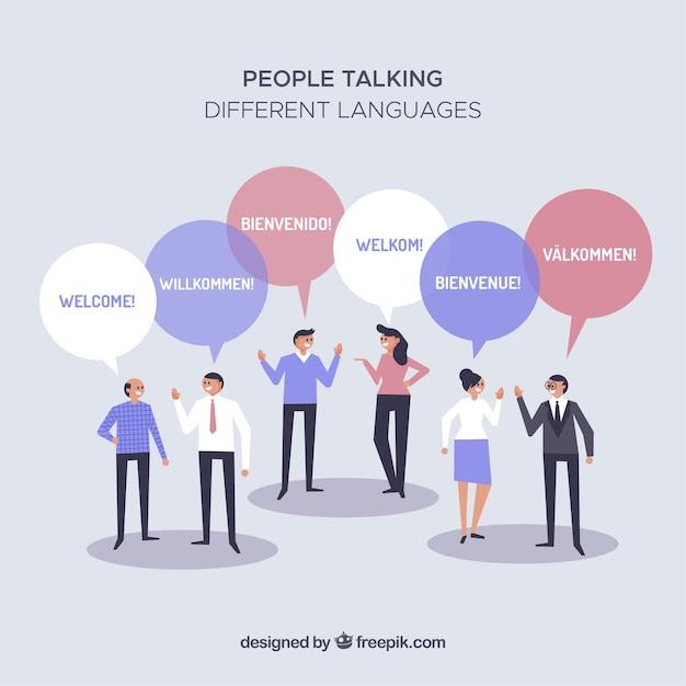 Les gens différentes langues avec un design plat Vecteur gratuit