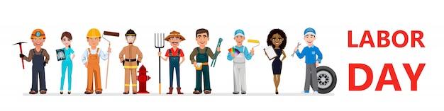 Les gens de différentes professions. fête du travail Vecteur Premium