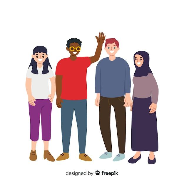 Des gens de différentes races et cultures Vecteur gratuit