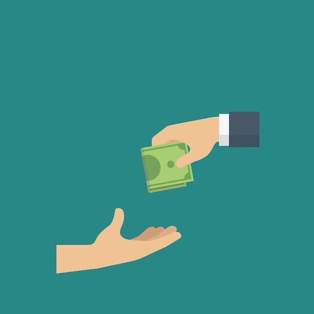 Les gens donnent de l'argent à une autre main en tant qu'organisme de bienfaisance. concept de don Vecteur Premium