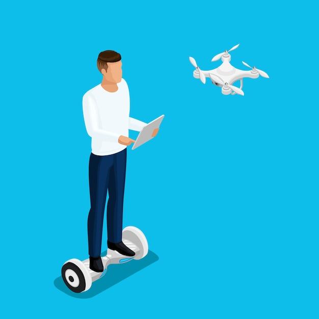 Gens De Drone Isométrique, Un Homme Jouant à Un Jeu, Vol Quadcopter Vecteur Premium