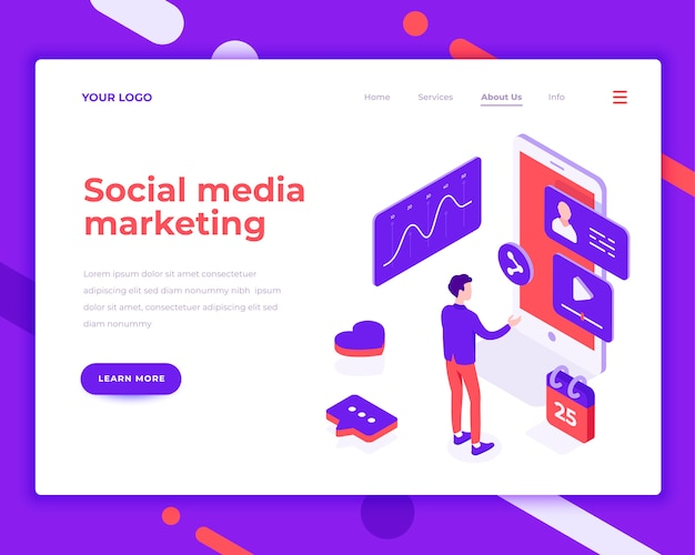 Les gens du marketing des médias sociaux et d'interagir avec les graphiques Vecteur Premium