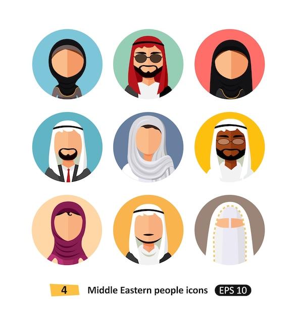 Les gens du moyen-orient avatar set vector plat icônes utilisateurs arabes Vecteur Premium