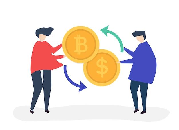 Gens échangeant des bitcoins en dollars Vecteur gratuit