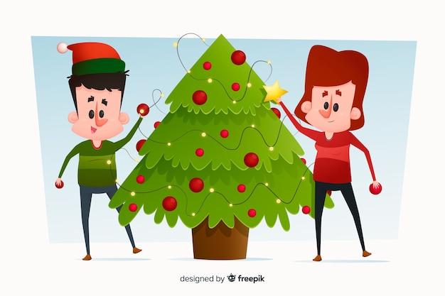 Gens, ensemble, décorer, arbre noël Vecteur gratuit