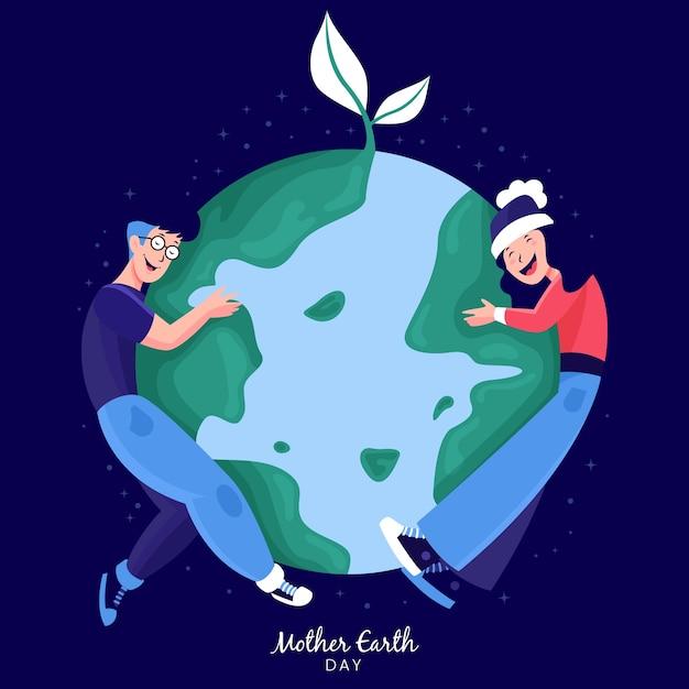 Gens, étreindre, Vert, Terre Vecteur gratuit