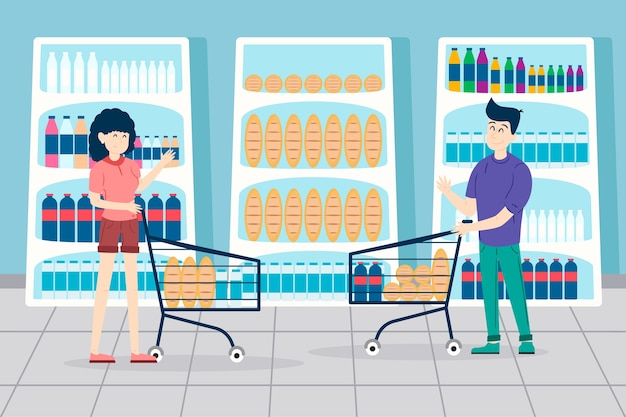 Gens, Faire L'épicerie Vecteur gratuit