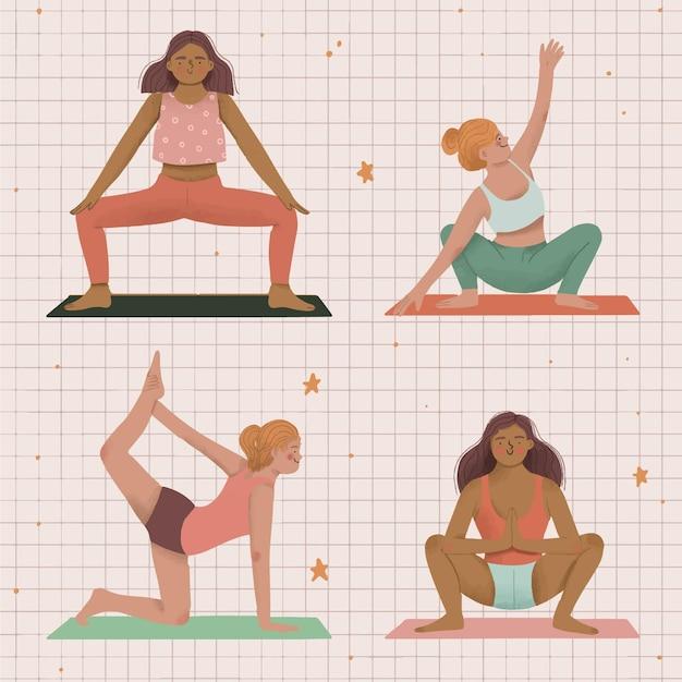 Gens, Faire, Yoga, Illustration Vecteur gratuit
