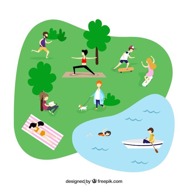 Gens faisant des activités de loisirs en plein air avec un design plat Vecteur gratuit