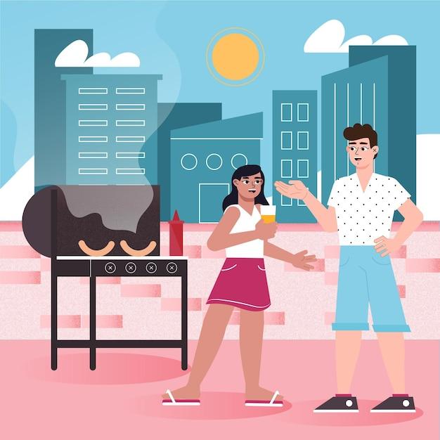 Gens Faisant Un Barbecue Sur La Terrasse Sur Le Toit Vecteur gratuit