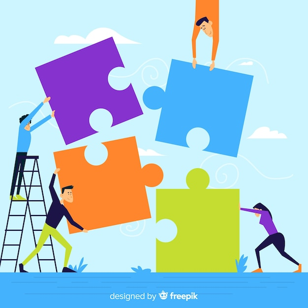Gens faisant puzzle ensemble illustration Vecteur gratuit
