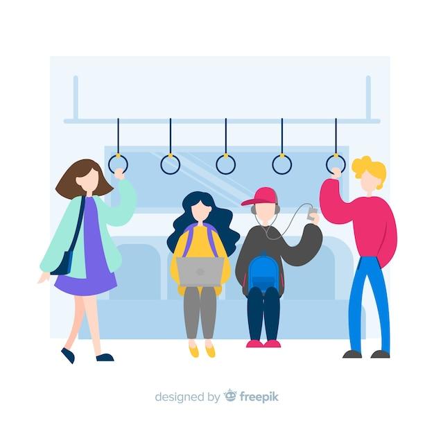 Les gens sur le fond de métro Vecteur gratuit