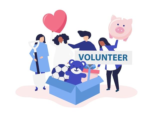 Les gens font du bénévolat et donnent de l'argent et des objets Vecteur gratuit