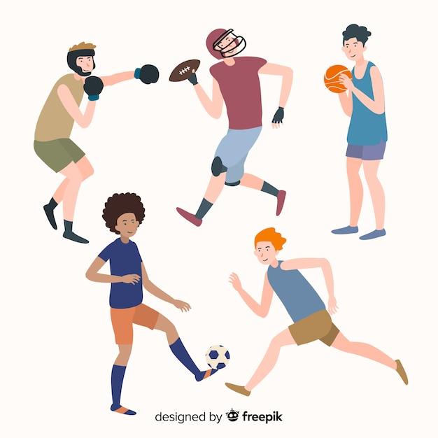Les gens font du sport Vecteur gratuit