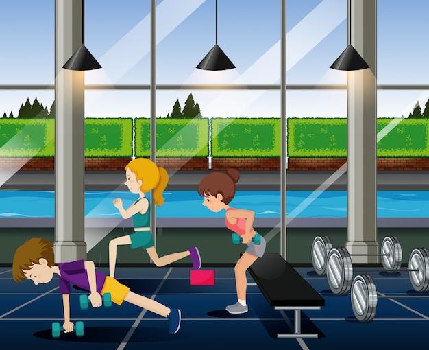 Les gens font de l'exercice dans la salle de sport Vecteur gratuit