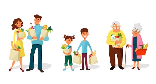 Les Gens Font Leurs Courses. Familles Et Couples Des Enfants Aux Personnes âgées Avec Des Sacs D'épicerie. Vecteur Premium
