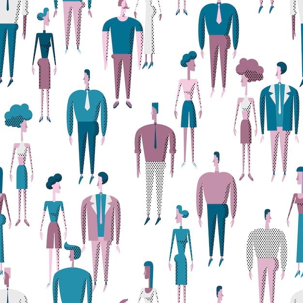 Les gens foule modèle sans couture avec les hommes et les femmes divers personnages. Vecteur Premium