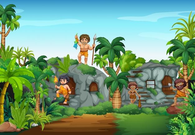 Gens de la grotte vivant dans la forêt Vecteur gratuit