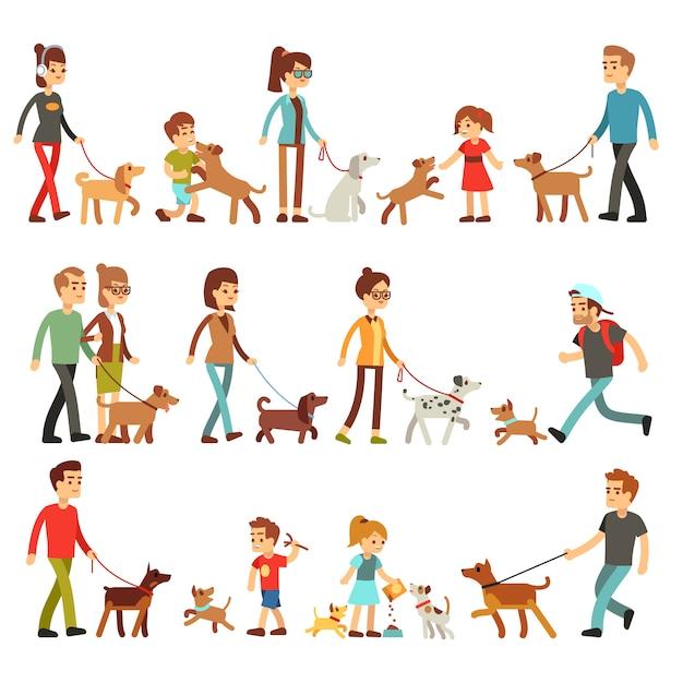 Des gens heureux avec des animaux domestiques. femmes, hommes et enfants jouant avec des chiens et des chiots. Vecteur Premium
