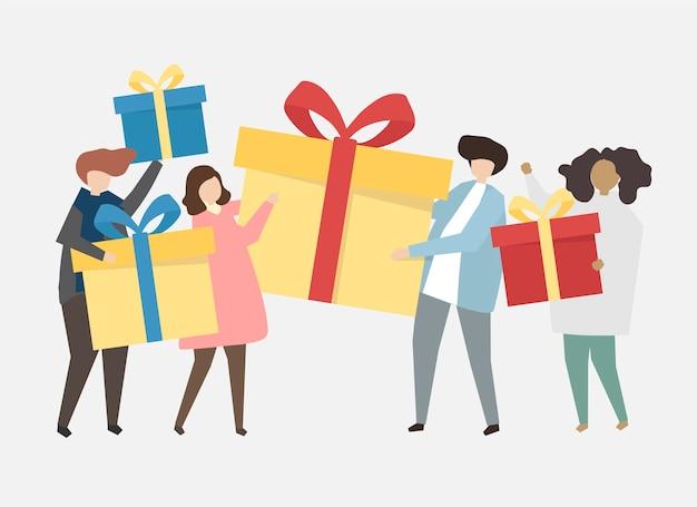 Gens heureux célébrant une illustration d'anniversaire Vecteur gratuit