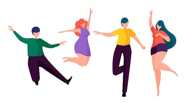 Gens heureux danser Vecteur Premium
