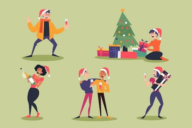 Des Gens Heureux Portant Des Vêtements De Noël Vecteur gratuit
