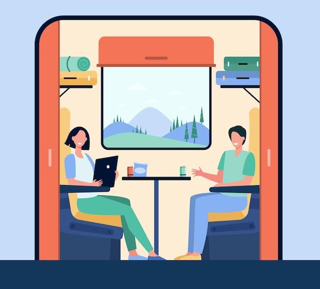 Gens Heureux Voyageant En Train Illustration Plate. Personnages De Dessins Animés Assis Près De La Fenêtre Pendant Le Voyage Ou Le Voyage. Vecteur gratuit