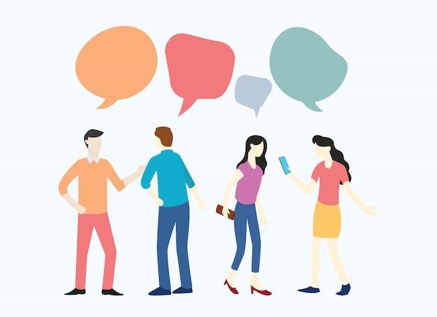 Gens homme et femme d'affaires discutant de l'actualité des médias sociaux Vecteur Premium