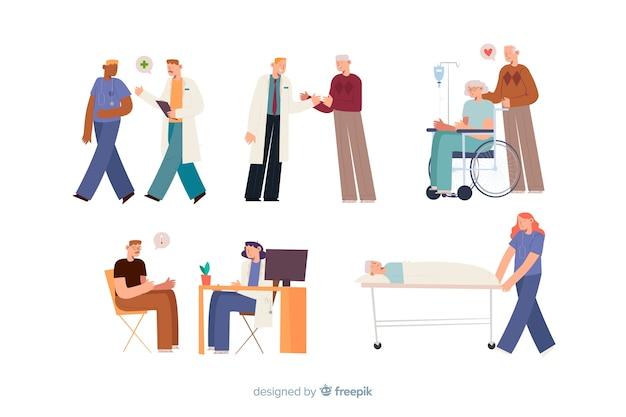 Les gens à l'hôpital Vecteur gratuit