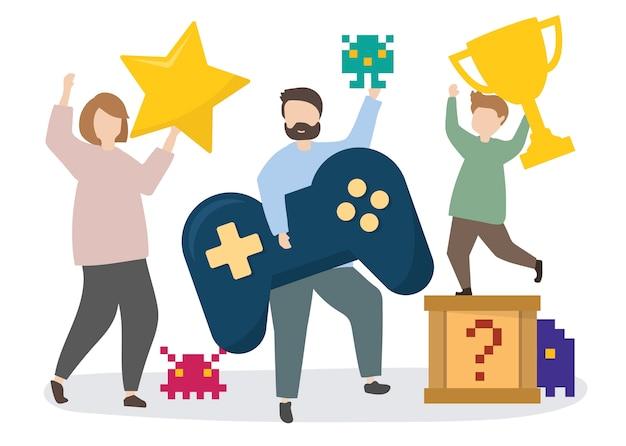 Gens avec illustration d'icônes de jeu Vecteur gratuit