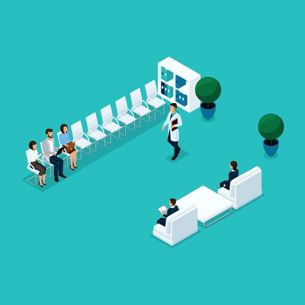 Les Gens Isométriques à La Mode, Attendant Au Bureau Du Médecin, à Leur Tour, Les Patients Vecteur Premium